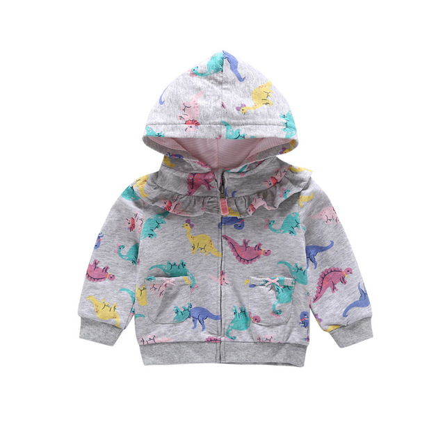 27kids Baby Hooded Dinosaur Hoodies For Boy Newborn Boy Girl Infant Cotton Soft Cartoon Printed Jumpsuit Hoodies Outfit Clothes