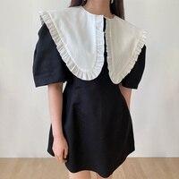 Südkorea Chic Sommer Kleid Französisch Kleid Große Revers Ohr Rand Kontrast Nähte Hohe Taille Kleine Kurzarm Kleid
