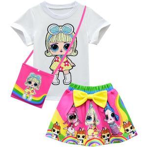 Conjunto de roupas de verão meninas l.o.l bebê crianças da criança meninas conjunto roupas festa de aniversário tutu vestido tshirt saia saco