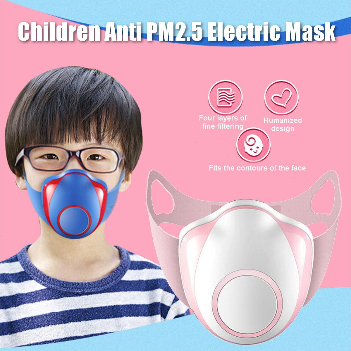 Children Smart Electric Face Mask Air Purifying Anti Dust Pollution Fresh Air Supply PM2.5 With Breathing Air Valve Dust Mask 1