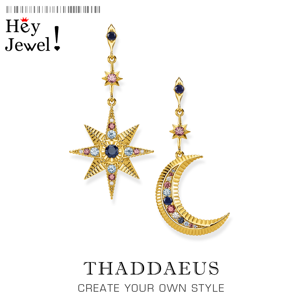 Royalty Star & Moon Drop Earrings,Thomas Magical Boho Fashion Good Jewelry For Women,2020 Summer Ts Gift In Sterling Silver 925