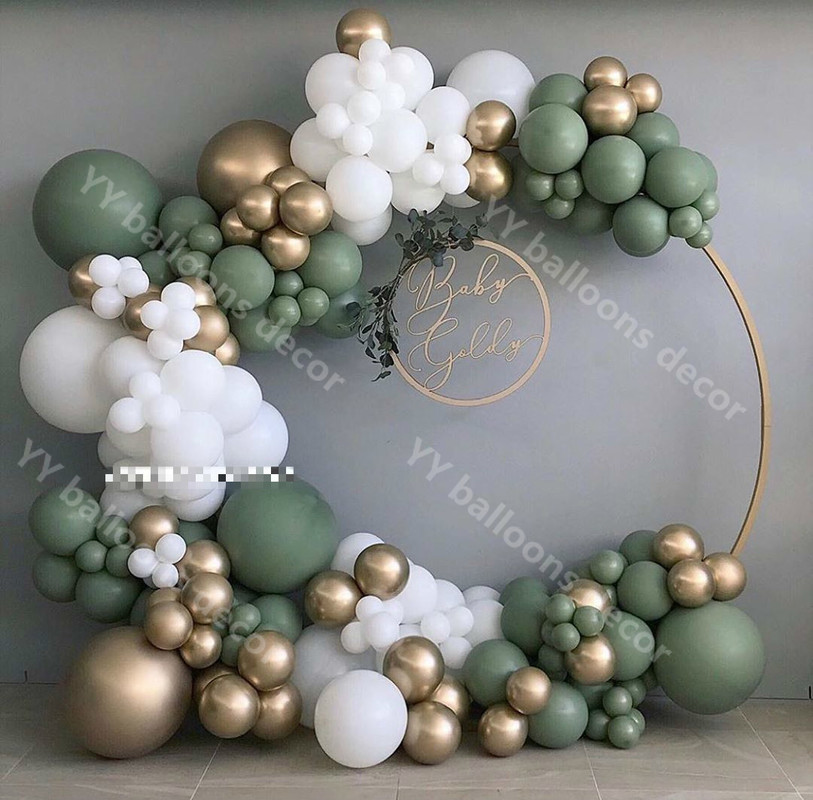 132pcsBaby Dusche Ballon Garland Arch Kit 12Ft RETRO Grün Weiß Gold Latex Air Balloons Packung für Geburtstag Party Decor supplie
