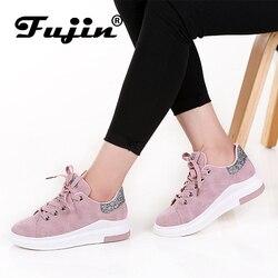 Fujin Sapatas Das Mulheres das sapatilhas Da Marca 2019 Outono Outono Macio E Confortável Sapatos Casuais Moda Senhora Apartamentos sapatos para as mulheres do Sexo Feminino
