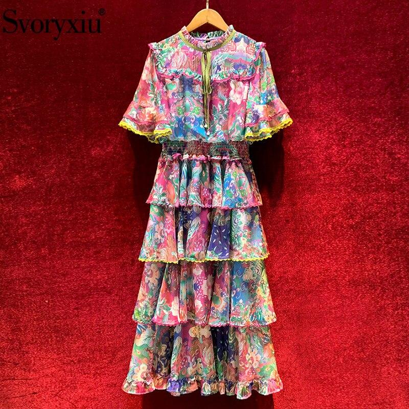 Svoryxiu, Vestido largo de fiesta Vintage de verano de diseñador de pasarela, vestido de mujer con estampado floral precioso, vestido con volantes y volantes|Vestidos|   - AliExpress