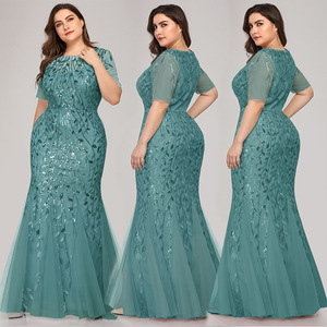 Image 3 - Queen Abby Evening Dresses Mermaid Sequined Lace Appliques Elegant Mermaid Long Dress 2020 Party Gowns Plus Size