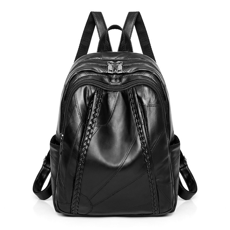 hot sale Genuine <font><b>leather</b></font> women School <font><b>backpack</b></font> for student genuine <font><b>leather</b></font> water proof bag pack Black Travel <font><b>Backpacks</b></font> image