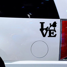 8 Colors Poodle word Love Sticker For Car Window Truck Bumper Auto SUV Door Vinyl Decal   Dog Groomer Toy Standard Idea все цены
