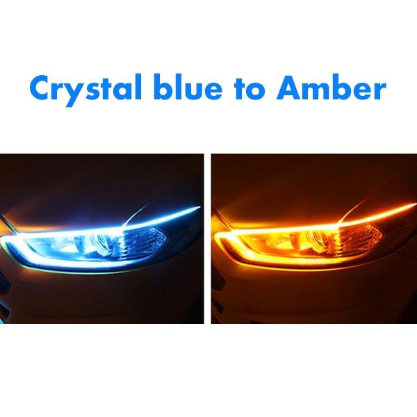 1 шт. новейший автомобиль DRL светодиодный дневные ходовые огни авто течёт указатель поворота направляющая полоса фары в сборе аксессуары для стайлинга автомобилей - Цвет: Crystalblue to Amber
