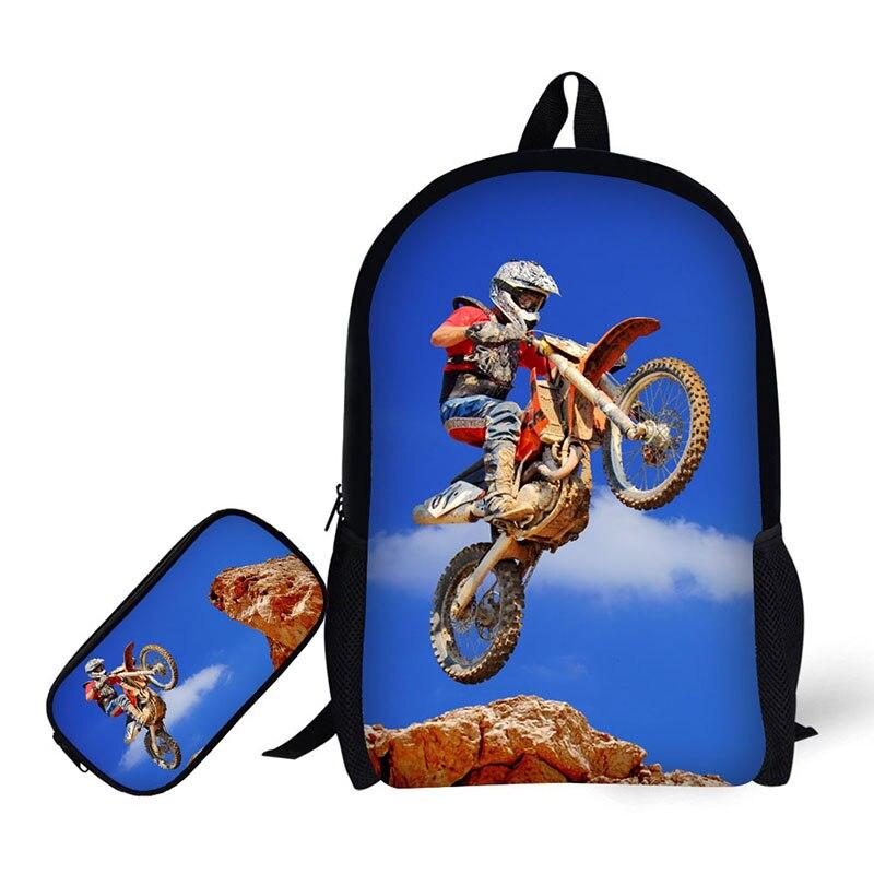 Sport moto impression hommes sac à dos enfants sac d'école pour TMeenager garçon Bookbag sac à dos pour ordinateur portable Rugtas Mochila Escolar 17 pouces