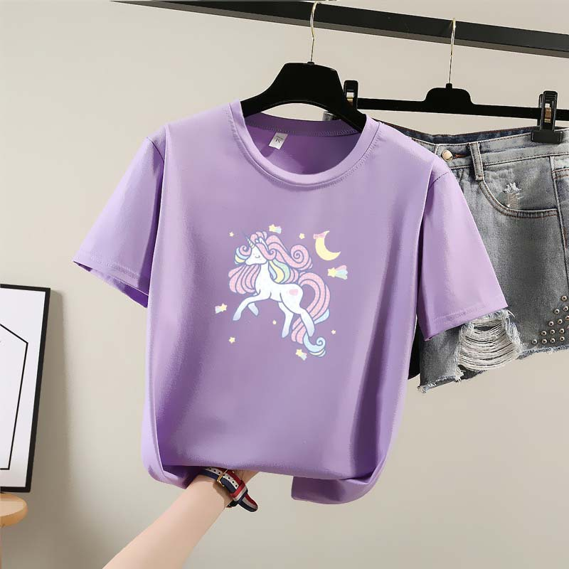 Harajuku T Shirt Women 2020 New Summer Cute Cartoon Printed O-neck Short Sleeve Korean Style Aesthetic Clothes Loose Women Tops