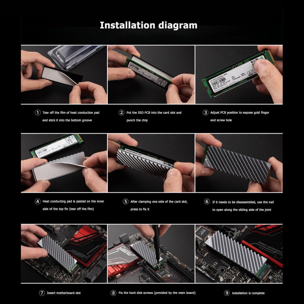 Jonsbo M.2 SSD NVMe Heat Sink M2 2280 Solid State Hard Disk Aluminum Heatsink with Thermal Pad Desktop PC Thermal Gasket 3