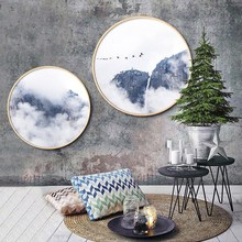 New China style INS solid wood round decorative painting simple modern living room paintings restaurant Abstract ink landscape