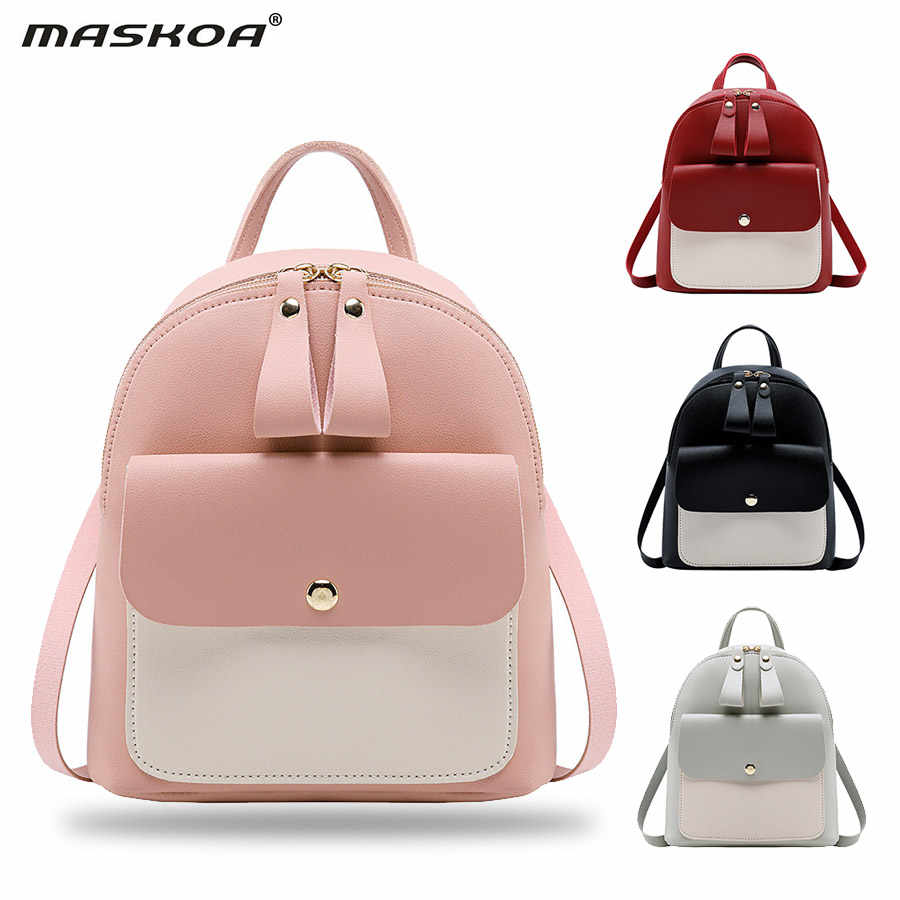 Fashion Mini Backpack Women PU Leather Shoulder Bag For Teenage Girls Kids Multi-Function Small Bagpack Ladies Phone Pack Pouch