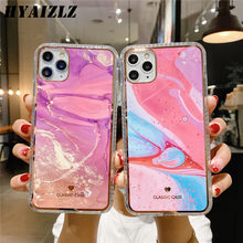 Shockproof Case for iPhone 12 11 Pro Max Marble Cases XS XR X SE 2020 7 8 Plus Watercolor Pattern Plating IMD Protection Cover(China)