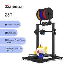 Zonestar Z8T Large High Precision Resolution Super Quiet Easy To Install 3 In 1 Out Extrusion Automatic Color Mixing 3D Printer