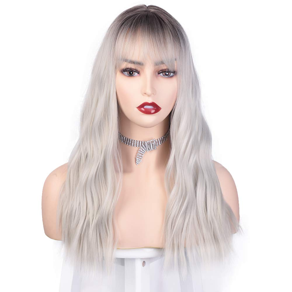 Silver Wavy Wigs For Women Synthetic Ombre Wigs With Bangs Dark Roots Medium Length Wig For Party Cosplay Halloween Daily Use 18