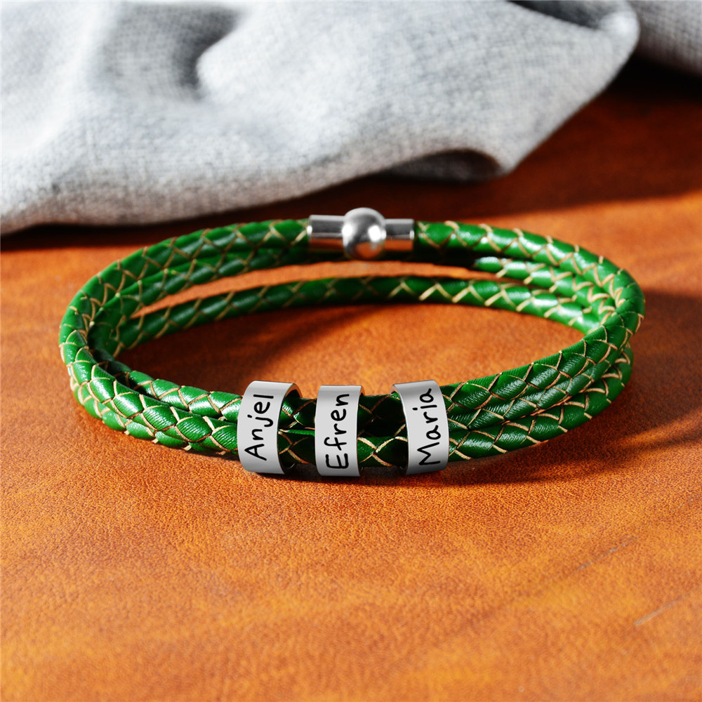 Personalized Jewelry Women Mens Stainless Steel Charm Bracelets Genuine Leather Braided Rope Custom With 1-9 Names Beads Gift