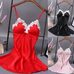Sexy Women Lingerie Dress Lace Silk Robe Sleepwear Bow Straps Nightgown Night Dress Black Blue Blue Purple Red Nightgowns