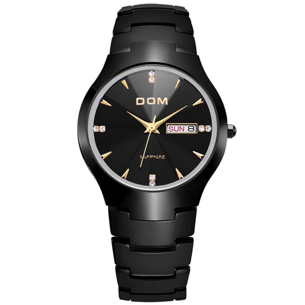 Men watch sport Luxury Top DOM Brand tungsten steel Sapphire Mirror Wrist 30m waterproof Business Quartz watches Fashion W-698.2