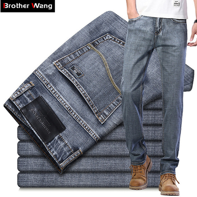 2020 New Men's Jeans Classic Style Business Casual Advanced Stretch Regular Fit Denim Trousers Grey Blue Pants Male