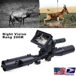 Mira de visión nocturna para caza, dispositivo óptico de visión 850 nm, LED infrarrojo IR 200 M, visión nocturna clara, mira telescópica, cámaras de trampa para vida silvestre