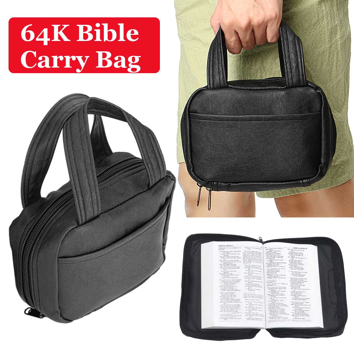 Black Genuine Leather Portable Bible Book Cover Protecter Bag For 64K Bible Book Bible Holy Carry Bag Bible Study Book Handbag