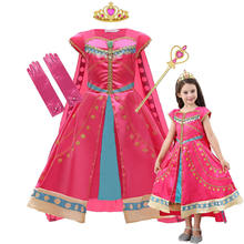 MUABABY New Movie Arabian Jasmine Dress For Girls Tassel Sequined Print Costumes With Cloak Carnival Halloween Party Clothes