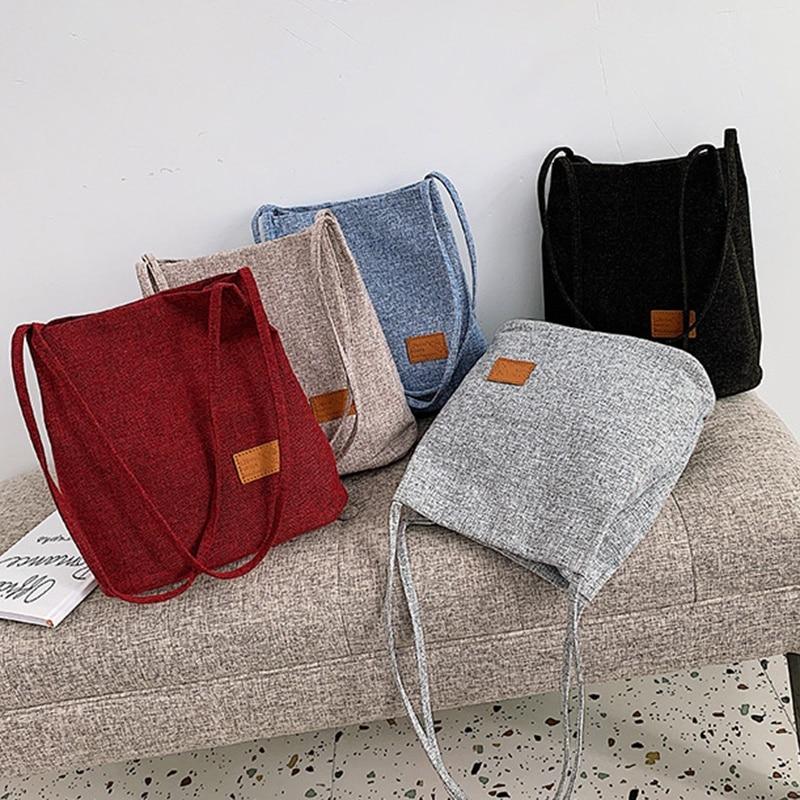Women's Tote Bags Fashion Linen Bag Sleek Large Capacity Ladies Harajuku Shopping Bag