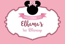 7x5FT Pink Mickey Minnie Mouse Bow Siluette Happy Birthday Party Welcome Custom Photo Backdrop Background Vinyl 220cm X 150cm(China)