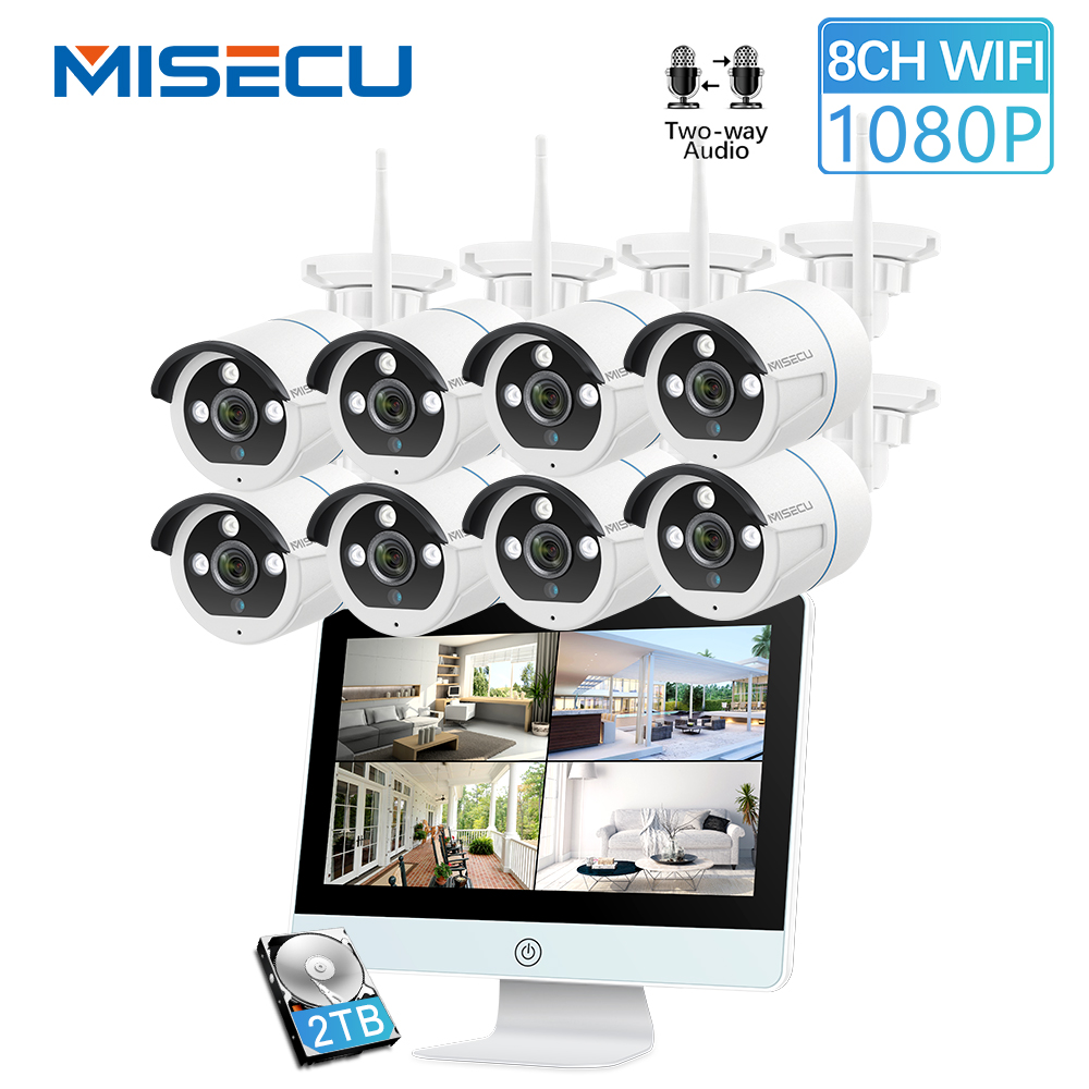 MISECU H.265 8CH 1080P Wireless Camera System 12'' LCD NVR Outdoor Two Way Audio Camera Night Vision P2P Video Surveillance Set
