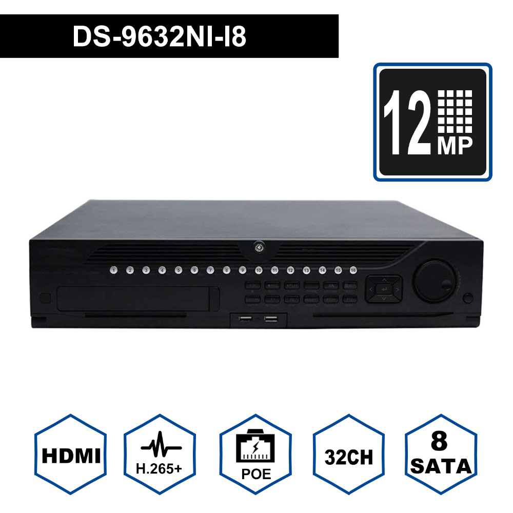 Hik Original Professional 32 Channel CCTV System DS-9632NI-I8 Embedded 4K 32 CH NVR Up to <font><b>12</b></font> Megapixels Resolution 8 <font><b>SATA</b></font> 2 HDMI image