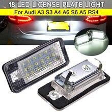 Luz de número de licença para audi, 2 peças 12v 3.5w 18led sem erro para audi a3 s3 a4 a6 s6 a5 rs4 luzes da matrícula do carro