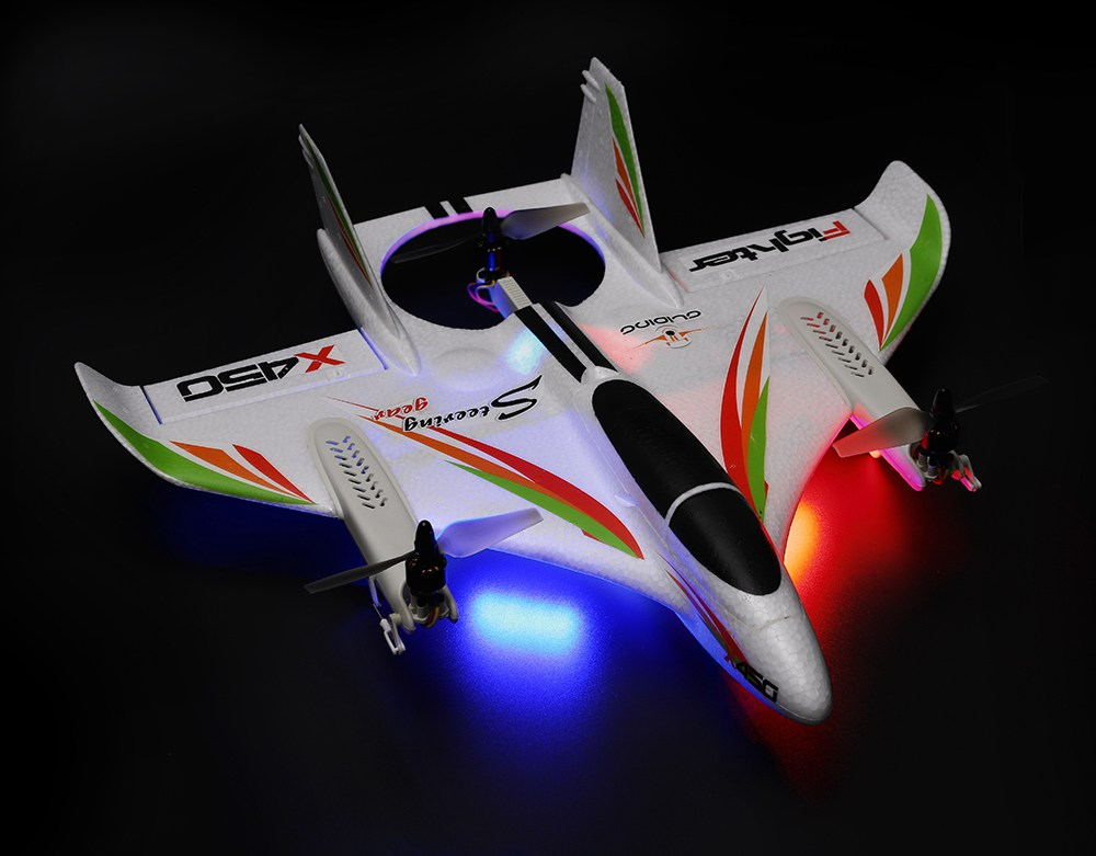 XK X450 VTOL 2.4G 6CH 6-axi's US Plug EPO 450mm Wingspan 3D/6G Mode Switchable Aerobatics RC Airplane RTF w/ Transmitter