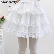 Japanese Lolita Style Women Underskirt Black White Tiered Skirt Cute K