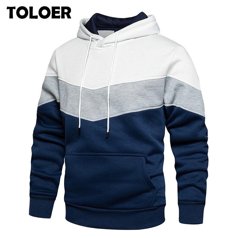 Patchwork Hoodies Men 2020 New Autumn Winter Fleece Mens Hooded Sweatshirts Streetwear Pullover 5XL Man Women Fitness Clothing