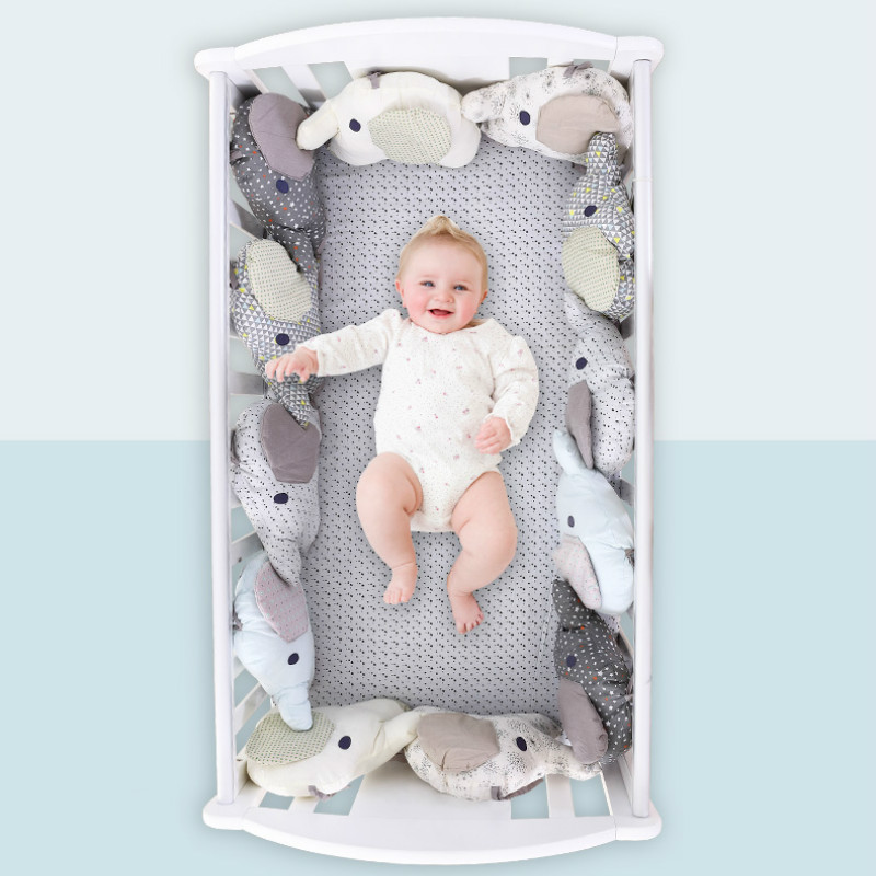 6PCS Fashion Soft Infant Bed Around Protection Baby Toy Aimal Elephant Crib Bumper Baby Bed Flexible Combination Many Occasions
