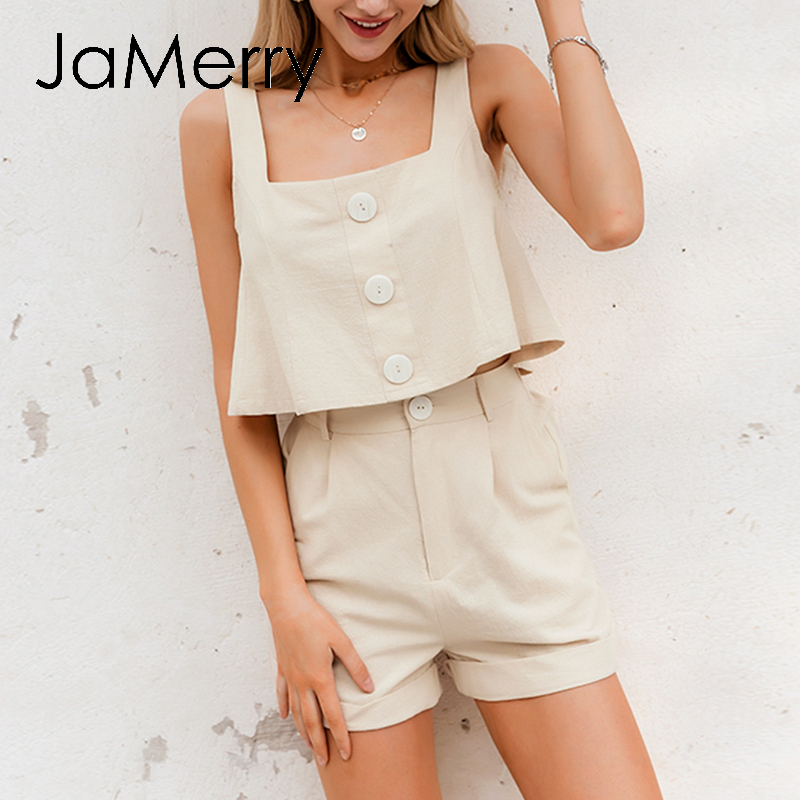 JaMerry Summer Casual Two-piece Women Playsuits Loose Sleeveless Straps Buttons Cotton Rompers Jumpsuit Spring Ladies Overalls