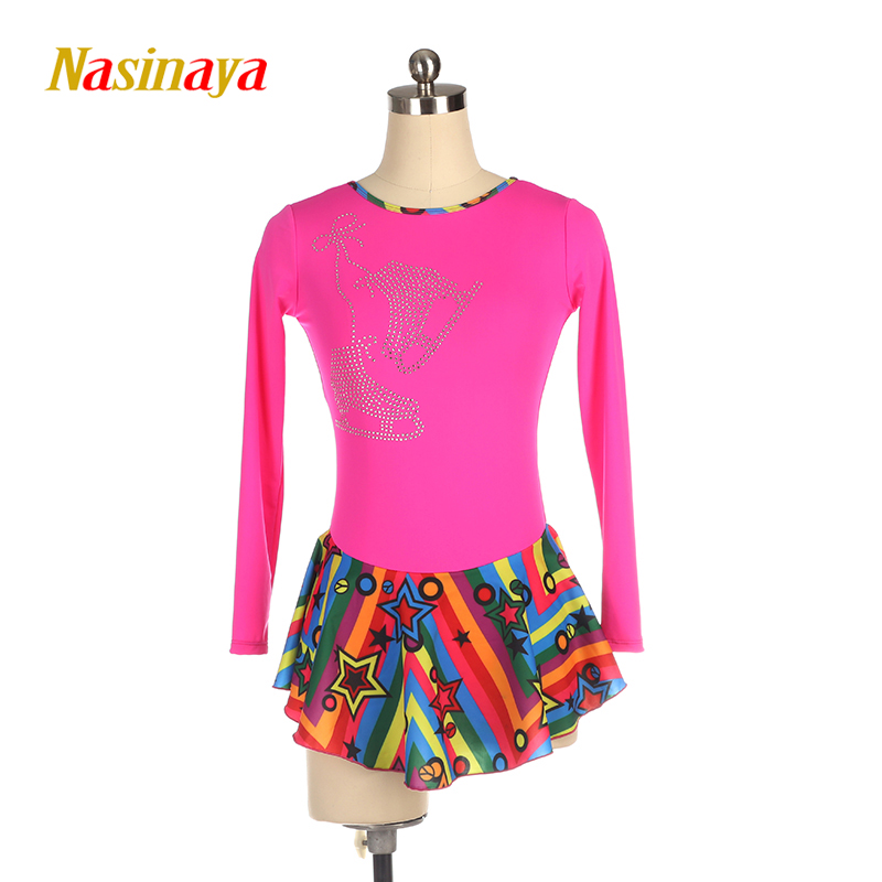 Nasinaya Figure Skating Dress Competition Ice Skating Skirt for Girl Women Kids Gymnastics Performance Colourful Skirt Rose Red