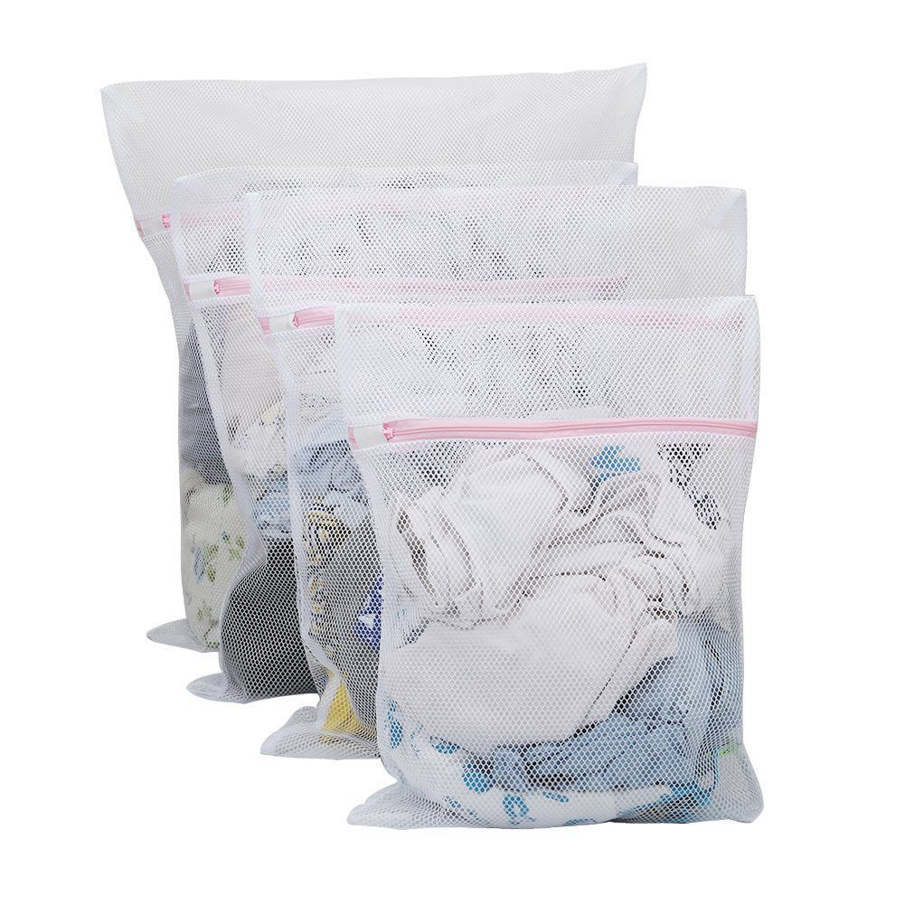 ABSF Large Net Washing Bag, Set Of 4 Durable Coarse Mesh Laundry Bag With Zip Closure For Clothes, Delicates