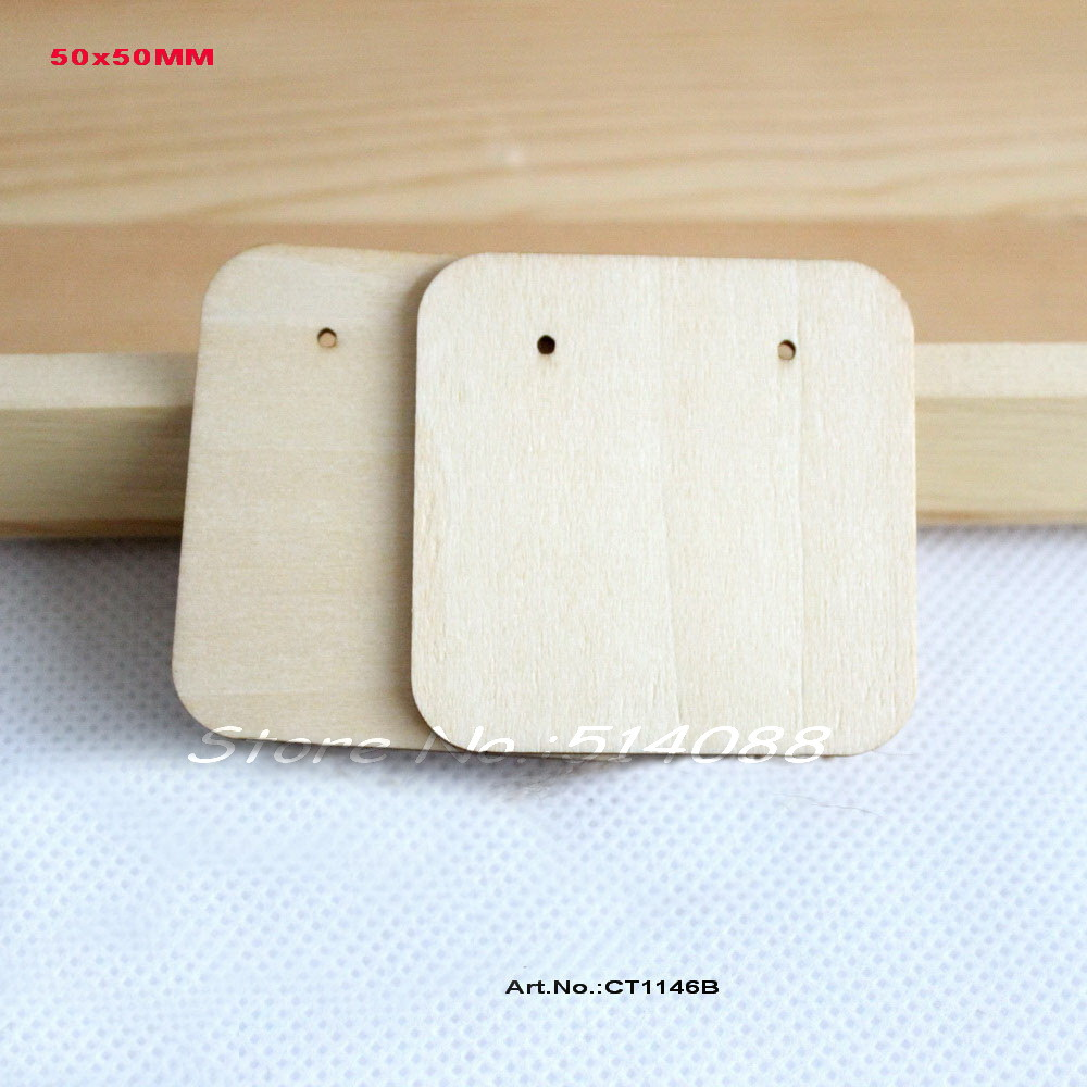 (20pcs/lot) NaturalHight Quality   Wooden Earring Display  Jewelry Label Display Jewelry Holder Blank Square Shape-CT1146B
