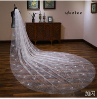 Bride Wedding Veil Wedding Long Section White Polaris Trailing Long Bride Wedding Veil Accessories TS264