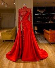 Świecący czerwony 2020 suknie balowe na szyję boczne rozcięcie z długim rękawem zroszony suknie wieczorowe cekinami arabski formalne robe de soiree tanie tanio Faiokaver Wysoka Pełna Pociąg sweep Długość podłogi Prom dresses REGULAR Tulle Frezowanie Kryształ vintage Naturalne