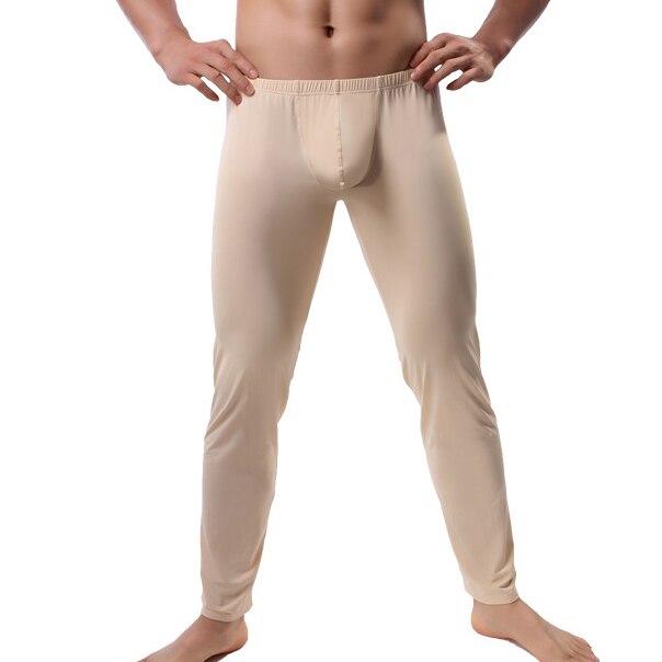 2XL Mens Sleep Bottoms Sexy Erotic Big Pouch Pants Ice Silk Ultra-thin See Through Trousers Gay Legging Lounge Pants Sleepwear