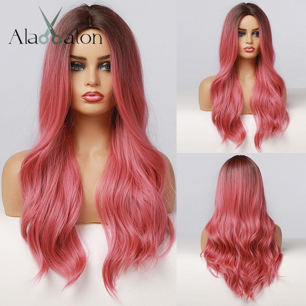 Алан EATON длинные волнистые синтетические эффектом деграде (переход от темного к Black Rose красный розовый парик Для женщин натуральные средняя ...