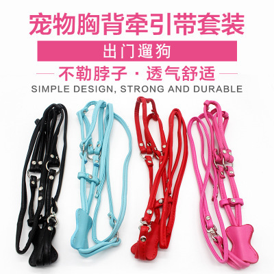 Pet Distraction Chest And Back Shiny Bone With Man-made Diamond Pu Pet's Chest-back Traction Belt Set Small Dogs And Cats