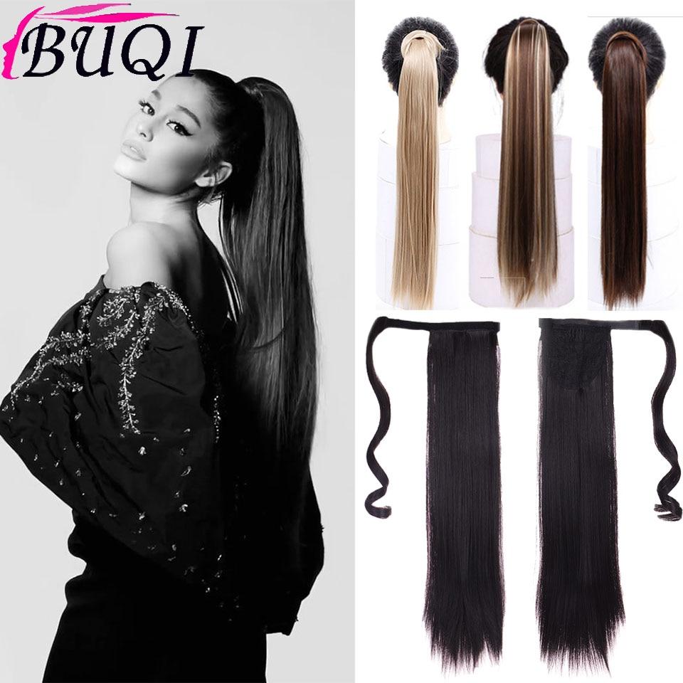 BUQI synthétique queue de cheval Extension de cheveux longue pince droite en cheveux postiches 24 pouces queue de poney faux cheveux