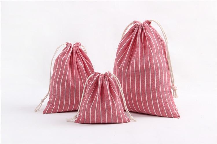 3Pcs/Set Canvas Drawstring Bags Striped Cotton Storage Pouch Foldable Tea/Candy/Gift/Clothes Case Bags