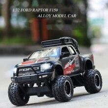1:32 Ford Raptor F150 ciężarówka typu Pickup Alloy Model auta z napędem wstecznym Diecast samochód zabawkowy modelu samochodu zabawki prezentowe dla dzieci dzieci urodziny