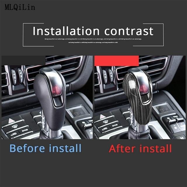 Car Gear Shift Head Cover Trim For Porsche MACAN 718 911 Panamera Cayman 2014-2020 Carbon Fiber0 Car Interior Accessories 6