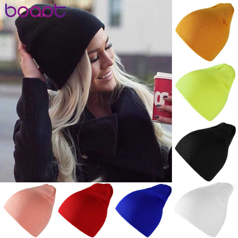 Unisex Beanies Winter Hats For Women Solid Warm Short Beanie Female Hip Hop Knitted Hat Ski Skullies Soft Elastic Baggy Bonnet
